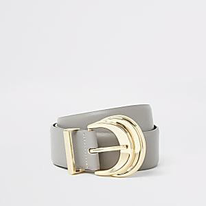 Grey double layered buckle belt