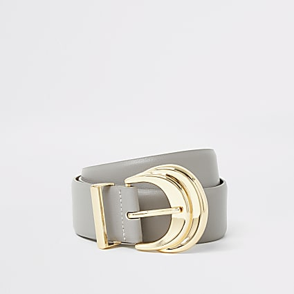 Grey double layered buckle belt