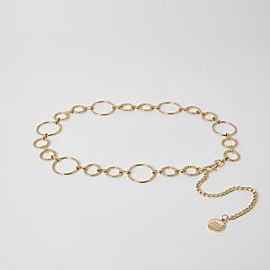 Goudkleurige tailleketting met ringen
