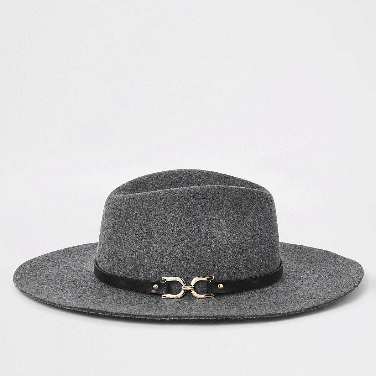 Grey snaffle side fedora hat
