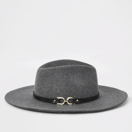 Grey snaffle side fedora hat