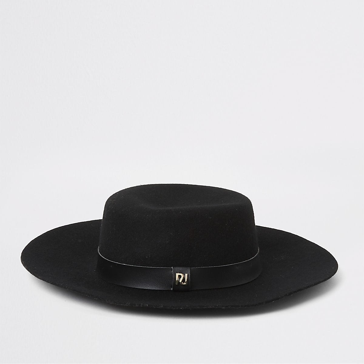Black PU band fedora hat