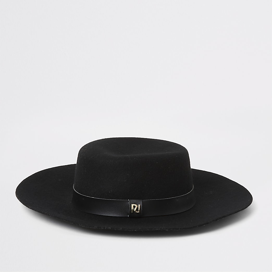 Black PU band fedora hat