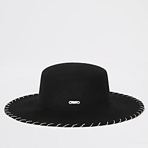 Chapeau Fedora noir avec coutures en chaîne