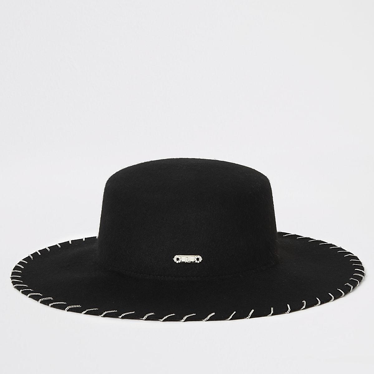 Black chain stitch Fedora hat