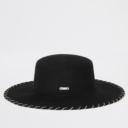Black chain stitch Fedora hat