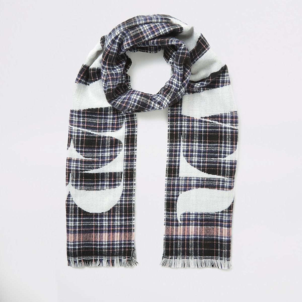 Zwarte geruite sjaal met 'River'-print