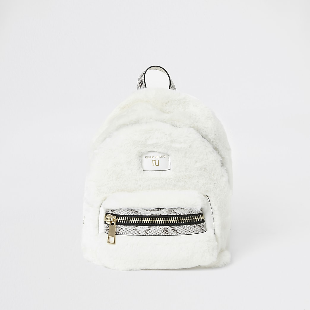 Cream faux fur mini backpack