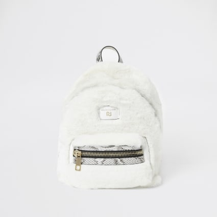 Cream faux fur mini backpack