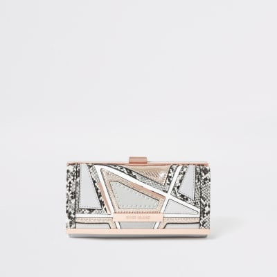 Grey Snake Embossed Cutabout Cliptop Purse by River Island