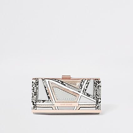 Grey snake embossed cutabout cliptop purse