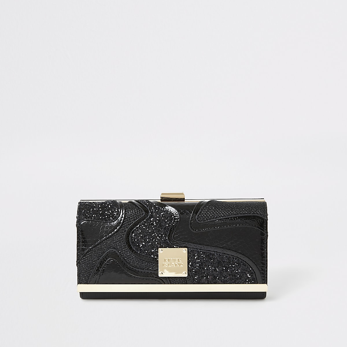 Black glitter swirl cutabout cliptop purse