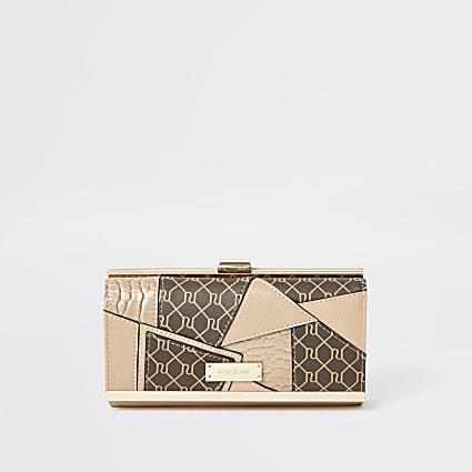 Beige RI monogram patchwork cliptop purse
