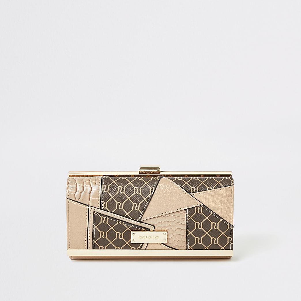 Beige portemonnee met knipsluiting, RI-monogram en patchwork
