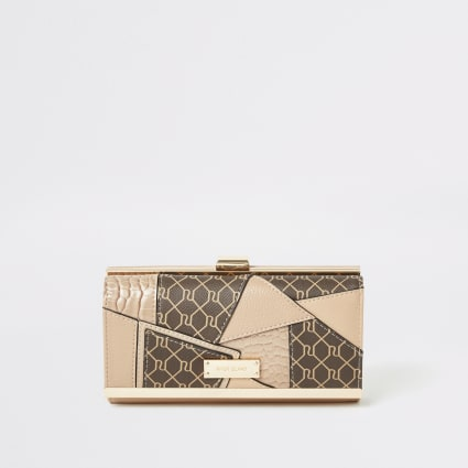 Beige RI monogram patchwork cliptop purse