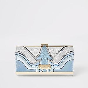Portefeuille bleu à paillettes avec fermoir clip