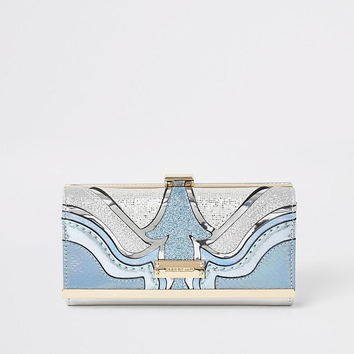 Blue glitter cutabout clip top purse