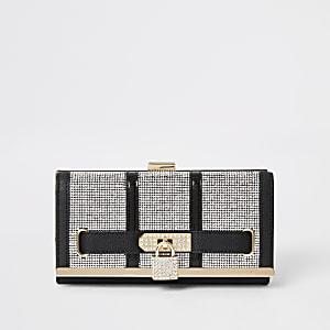 Zwarte portemonnee met druksluiting met slotjeen siersteentjes