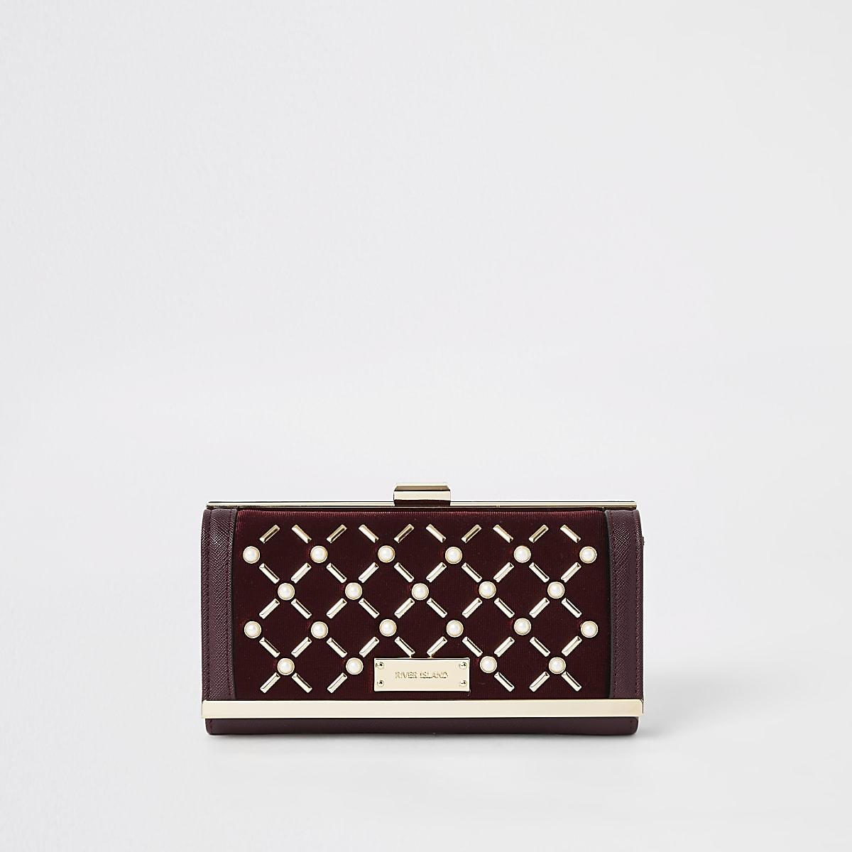 Dark red pearl studded cliptop purse