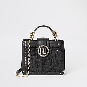Zwarte handtas met print en verfraaid met siersteentjes
