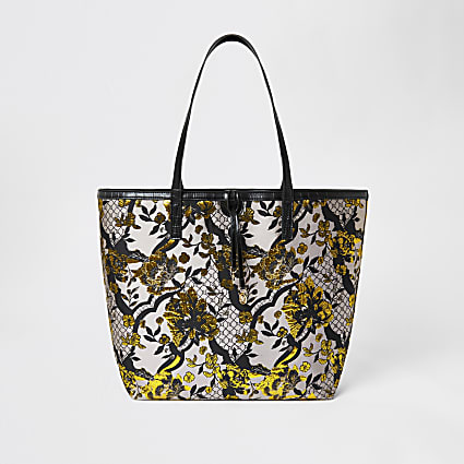 Grey floral jacquard shopper tote bag