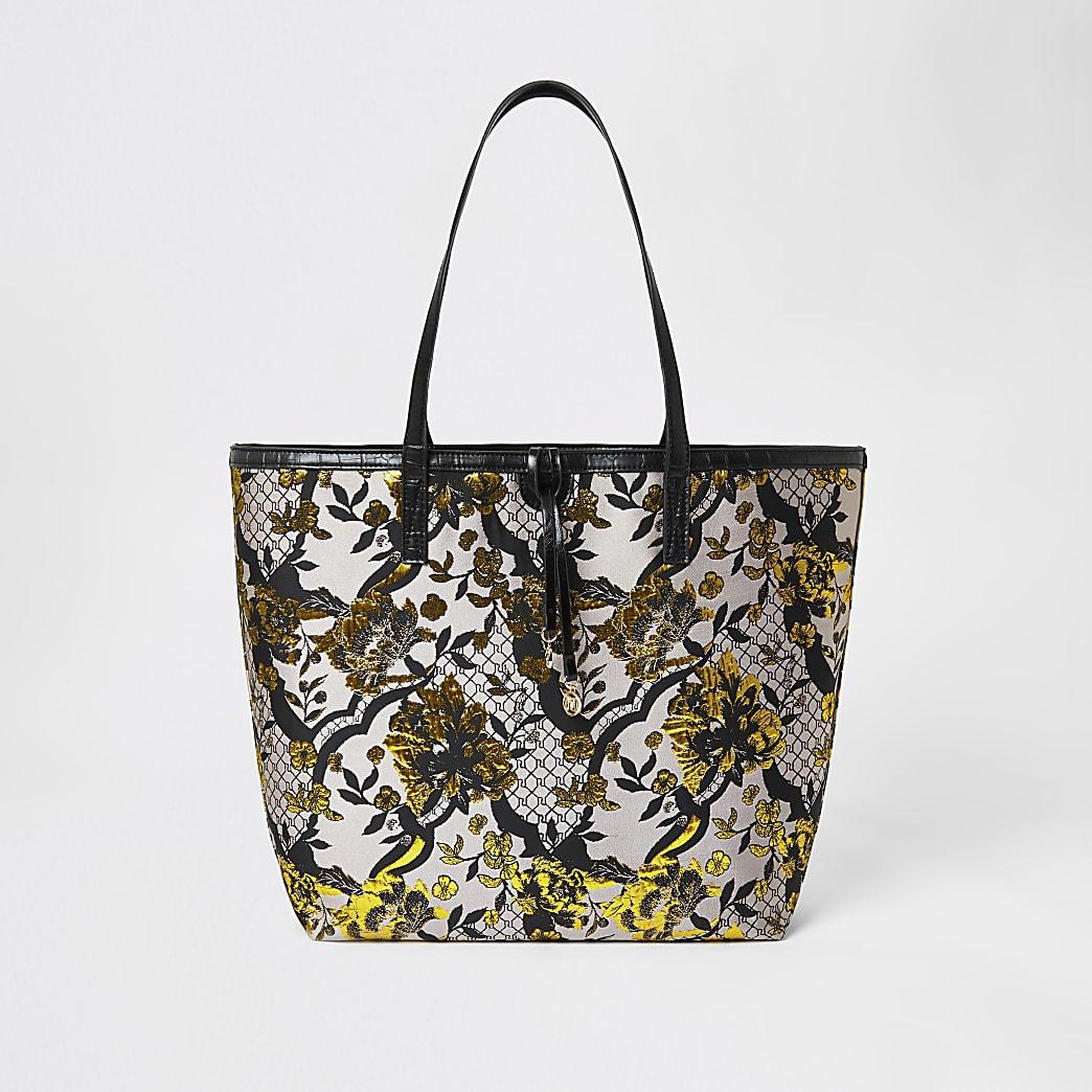 Grey floral jacquard shopper tote bag