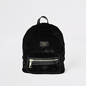 Zwarte mini-rugzak van imitatiebont