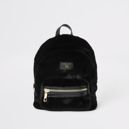 Black faux fur mini backpack