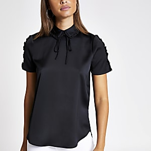 Black bow neck shell top