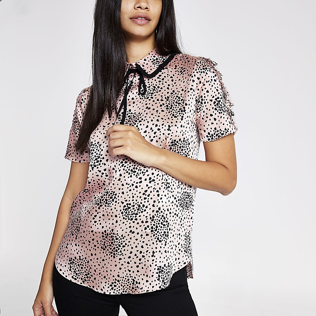 Pink heart print bow neck shell top