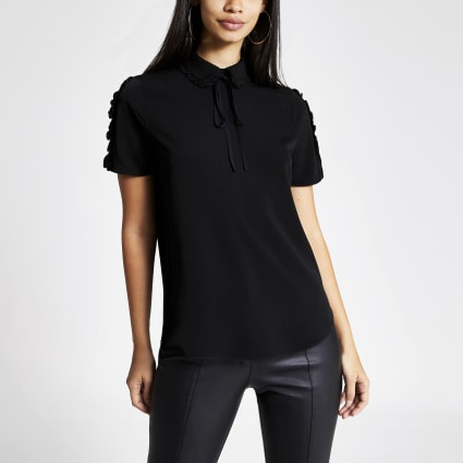 Black bow collar short frill sleeve top