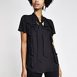 Black frill tie neck shell top