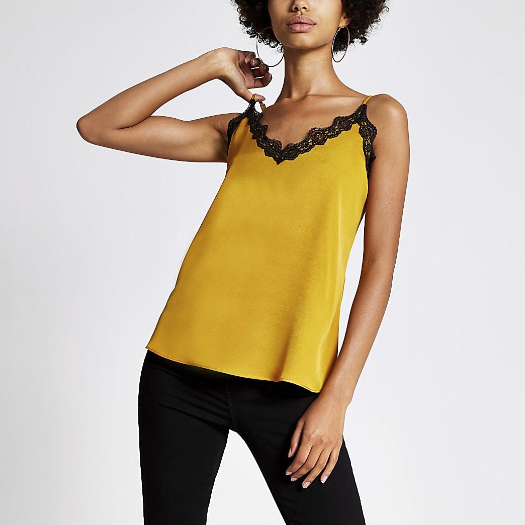 Gold lace trim cami top