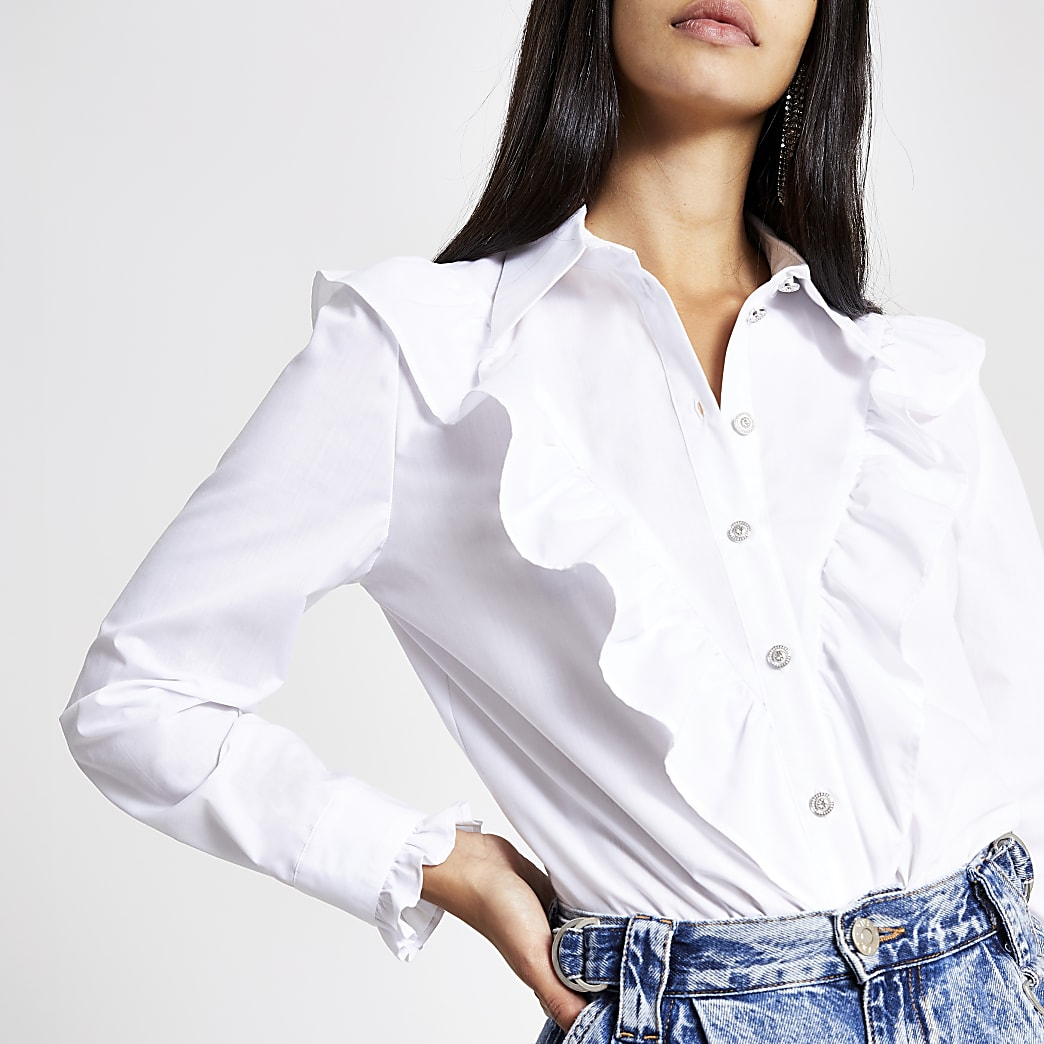 White frill bib long sleeve shirt