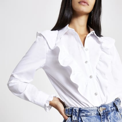 White frill bib long sleeve shirt