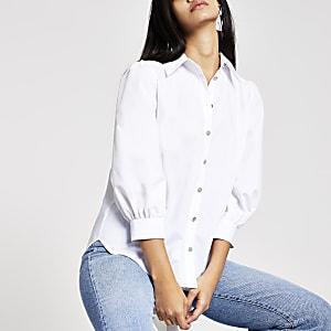 Wit overhemd met pofmouwen