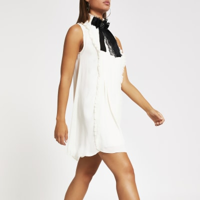 White High Neck Swing Dress by River Island