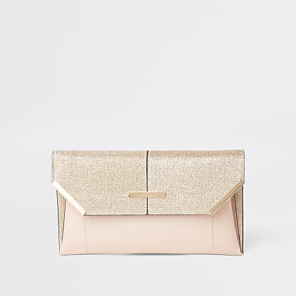Gold glitter envelope clutch bag