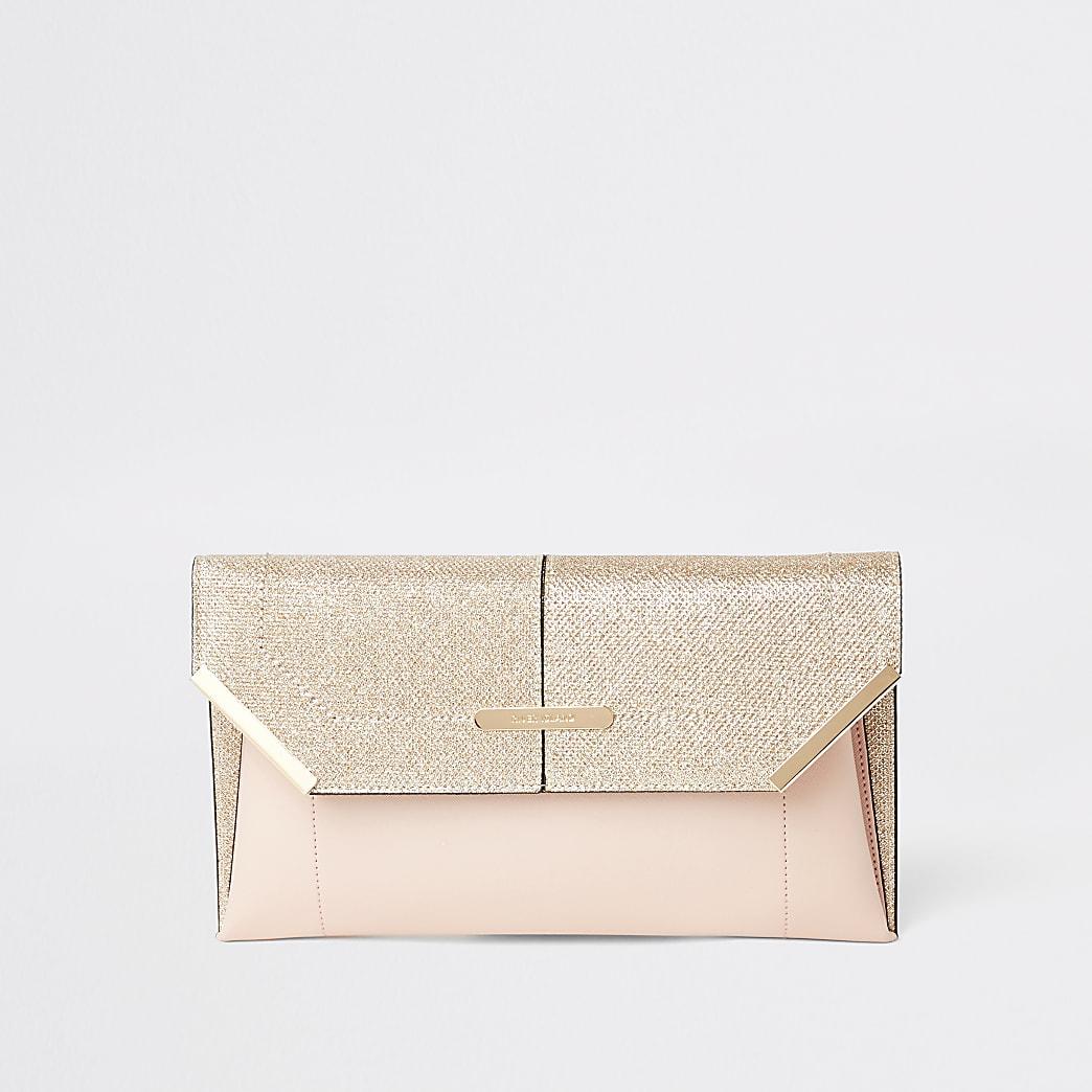 Gold glitter envelope clutch bag