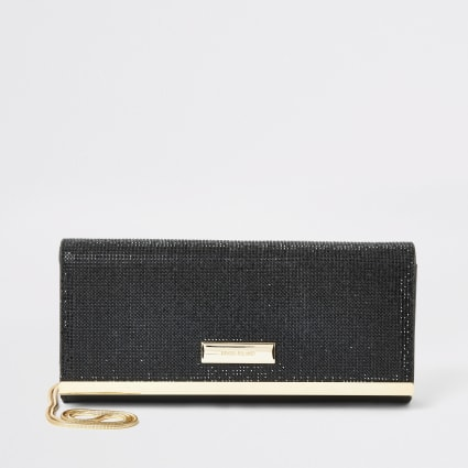 Black diamante baguette clutch bag