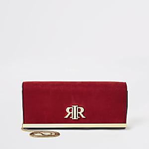 """Rote Clutch-Tasche """"RIR"""" aus Wildleder"""