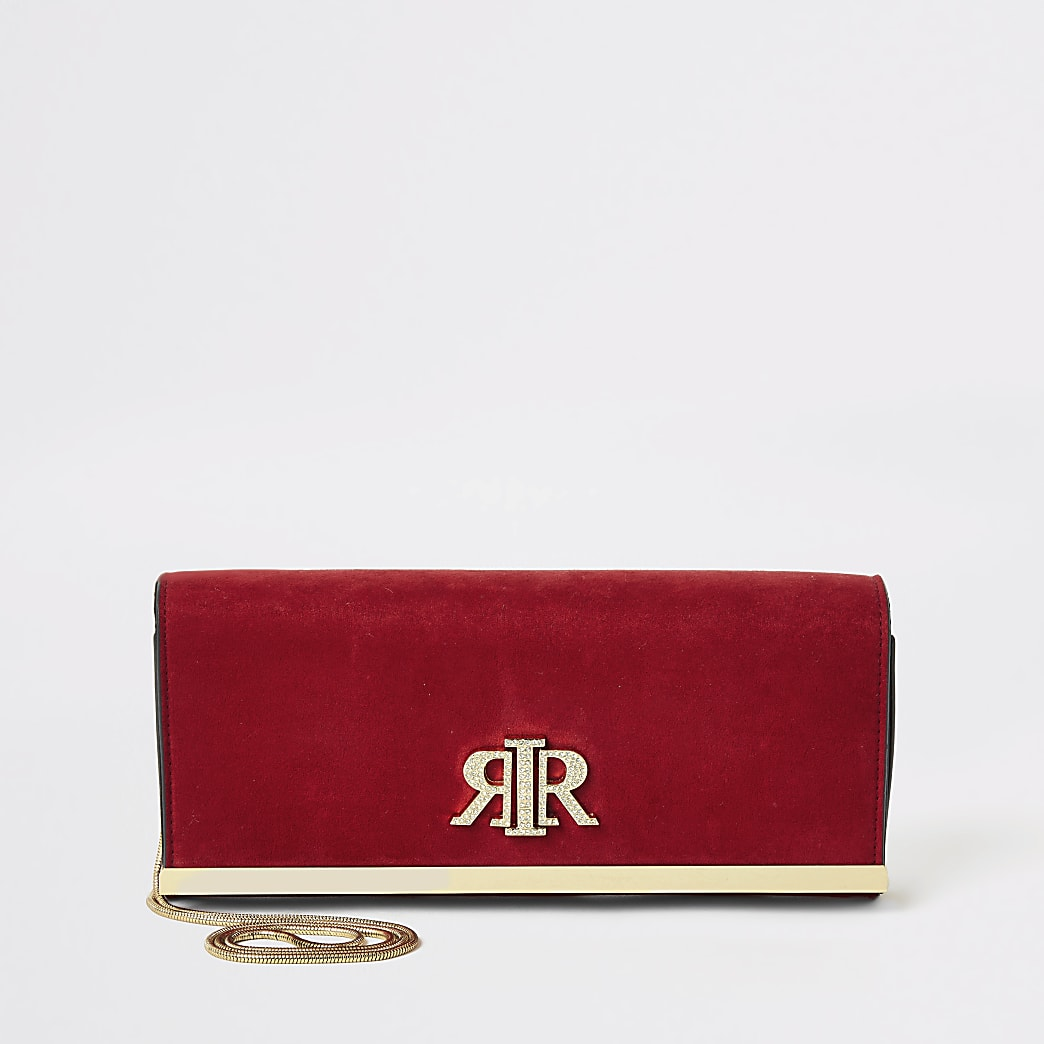 Red suedette RIR baguette clutch bag