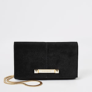 Petit sac rigide à bandoulière en velours noir