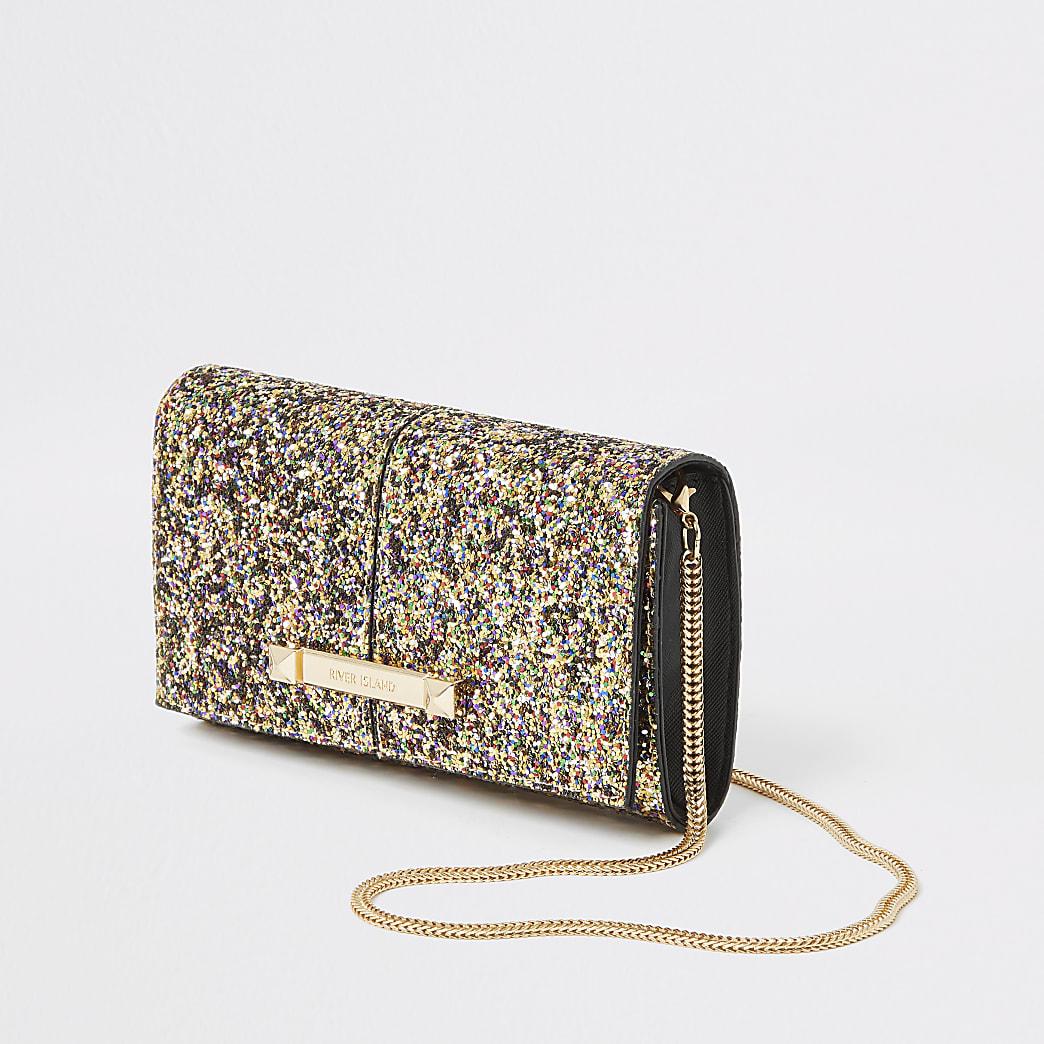 Glitzernde, kastenförmige Handtasche in Gold