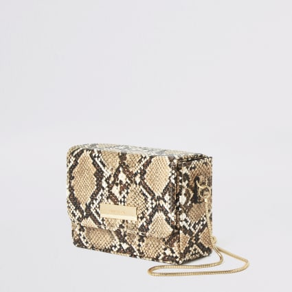 Beige snake print mini cross body bag