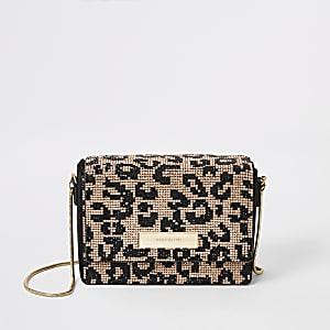 Mini sac bandoulière noir léopard orné de strass