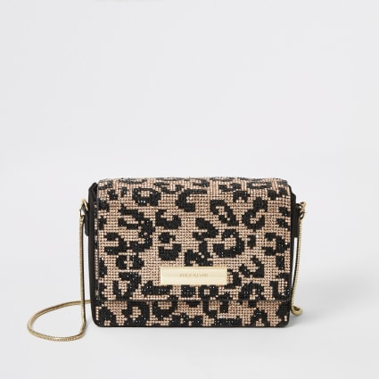 Black leopard diamante mini cross body bag