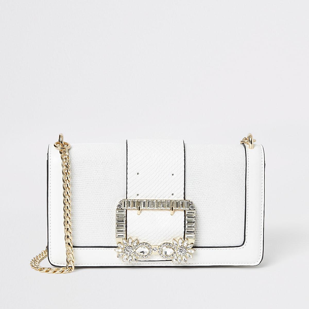 White embellished buckle underarm bag