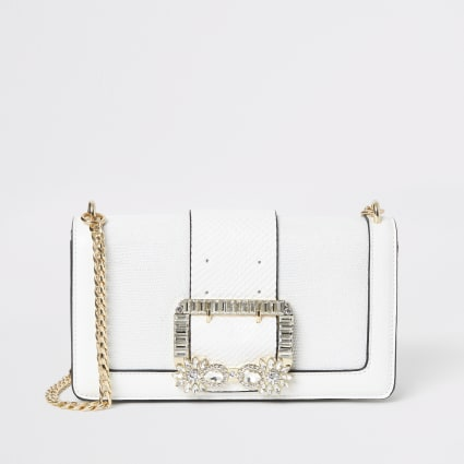 White embellished buckle underarm bag
