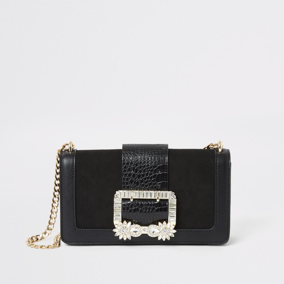 Zwarte tas met kort hengsel en gesp